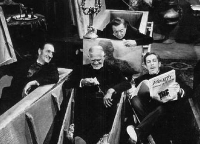 A fun moment on the set of Comedy of Terrors, with Peter Lorre, Boris Karloff, and Vincent Price