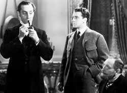 Rathbone, Richard Greene, and Lionel Atwill in The Hound of the Baskervilles