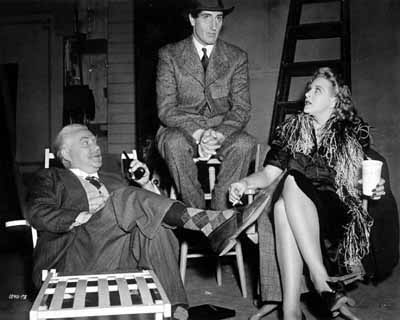 Nigel Bruce, Rathbone, and Evelyn Ankers on the set of Sherlock Holmes and the Voice of Terror