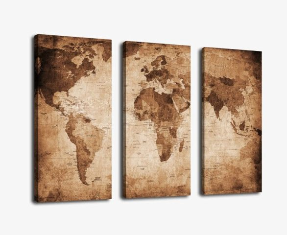 37 Eye Catching World Map Posters You Should Hang On Your Walls     3 Panel Large World Map Pictures Print on Canvas