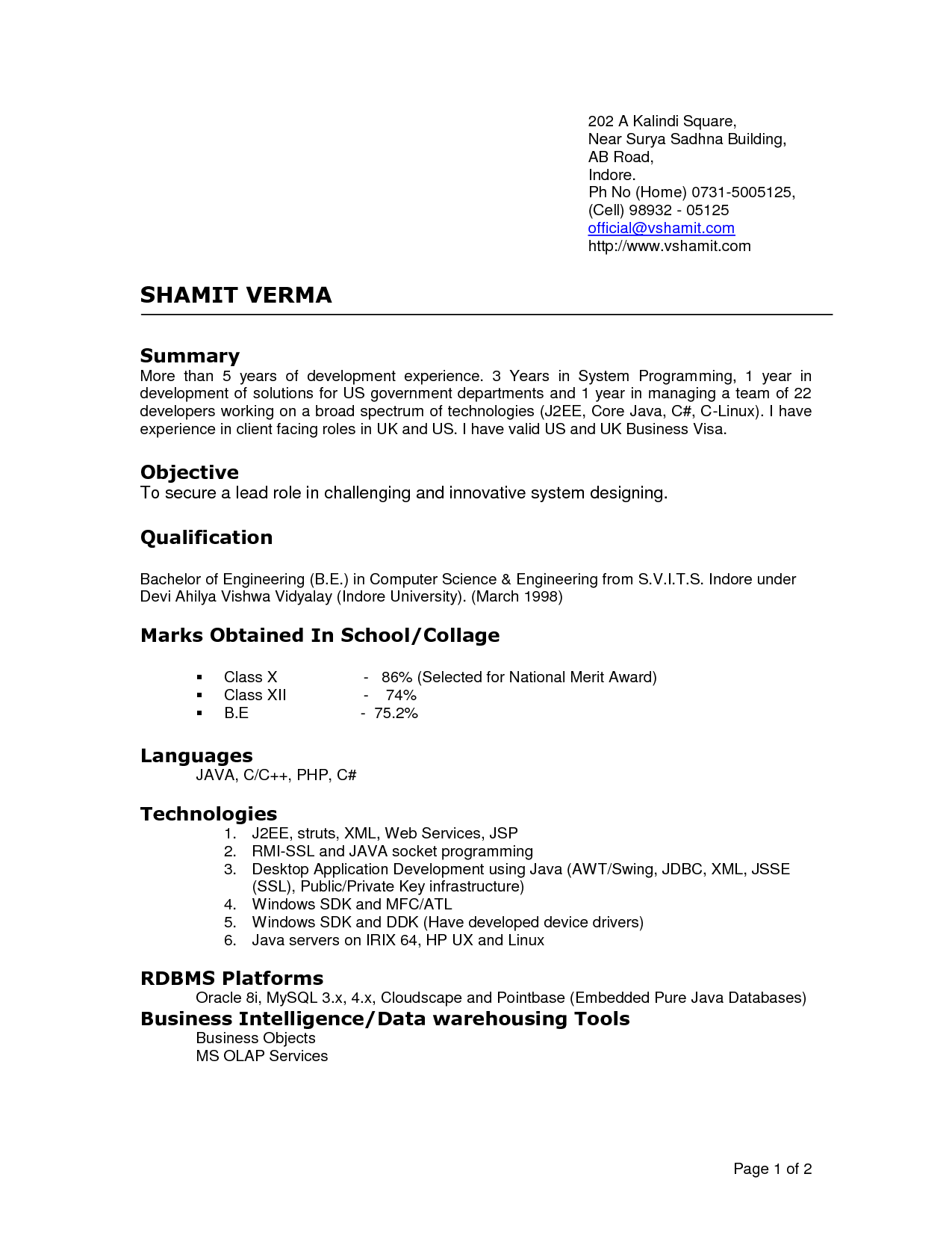 Examples Current Resume Styles