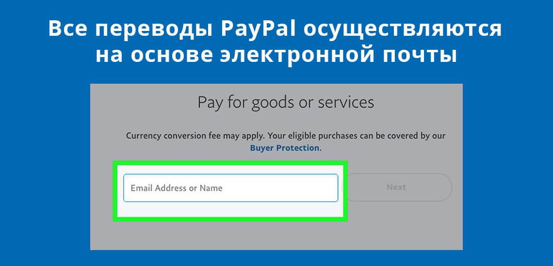 Барлық төлемдер PayPal электрондық поштаға негізделген