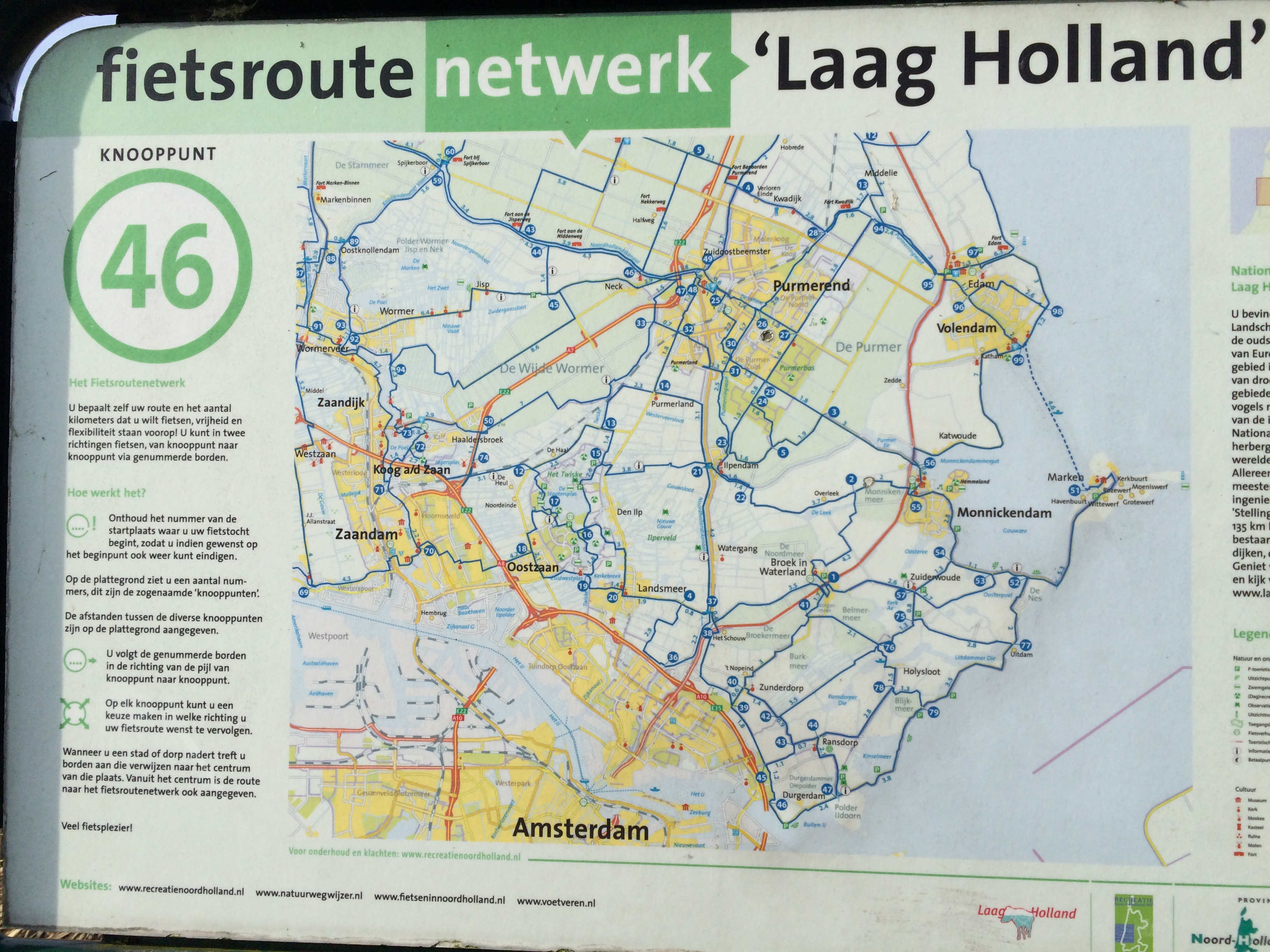 How to Read a Cycle Route Map of The Netherlands   Bromptoning A map plaque in the Waterland region of The Netherlands
