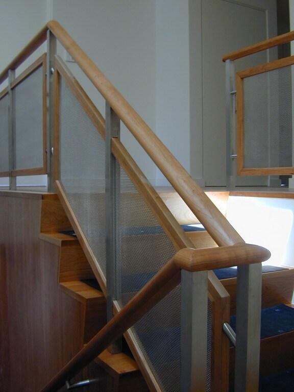 Custom Walnut Stainless Steel Stair Railings Brooks Custom   Stainless Steel Staircase Railing With Glass   Infill   Custom Glass   Indoor   Panel   Modern