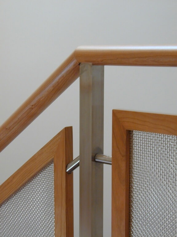 Custom Stainless Steel Stair Railings   Wood And Wire Stair Railing   Hampton Style   Exterior   Closed Staircase   Horizontal Round Bar   Square Wire
