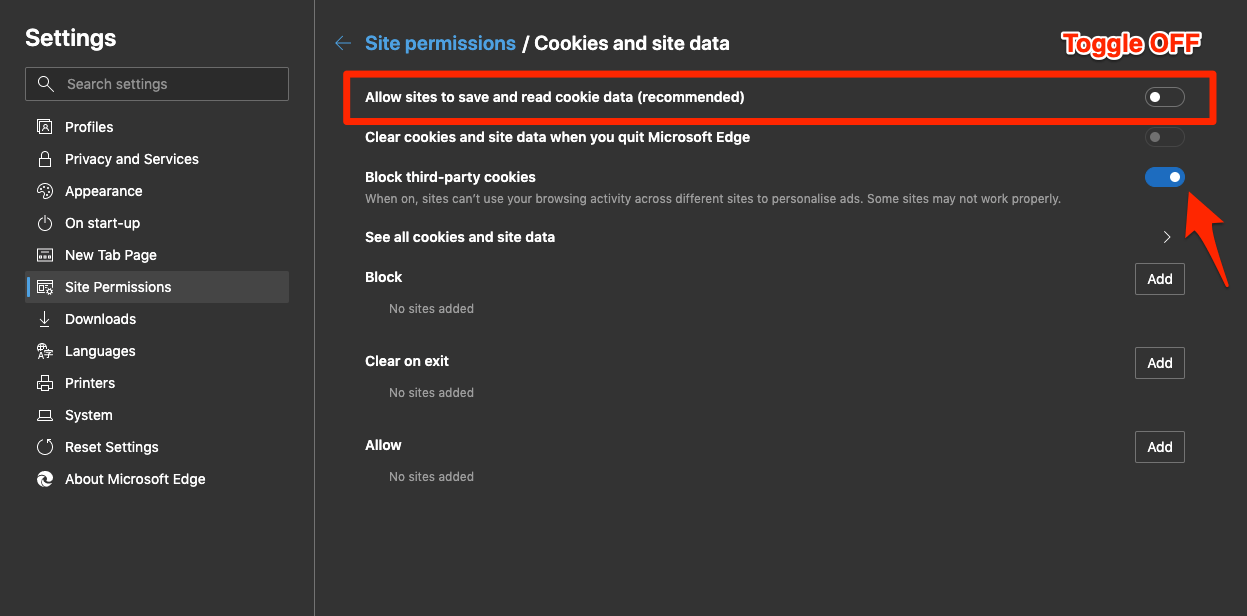 Block Cookies on Edge on Computer Browser