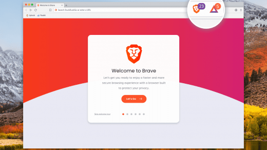 Brave Browser on Mac with welcome window