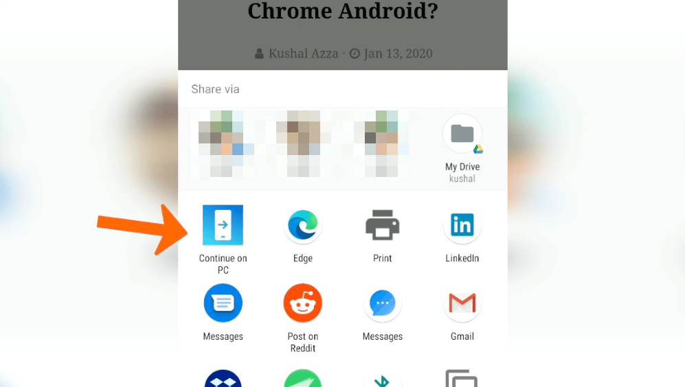 Continue on PC option on Edge Android