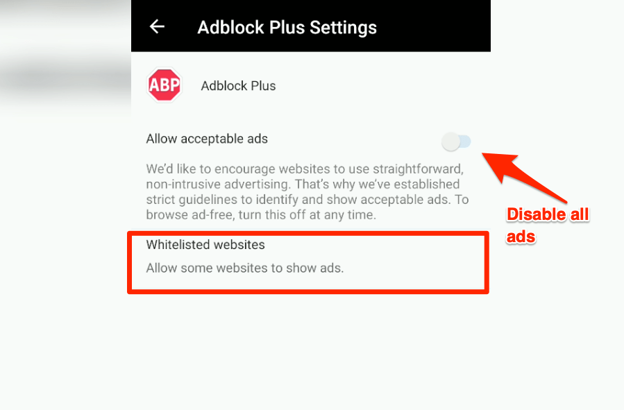 Disable acceptable ads and whitelisted websites in Edge Android