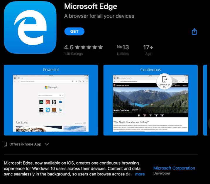Download Microsoft Edge Chromium for iOS