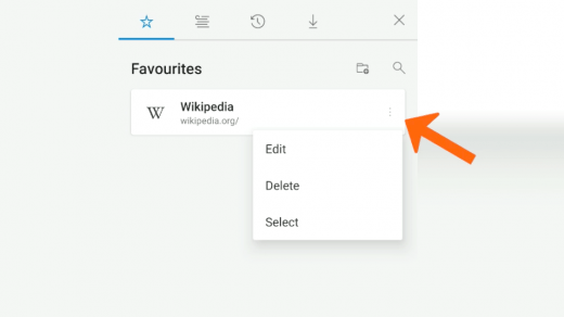 Favorites list with edit delete and select option