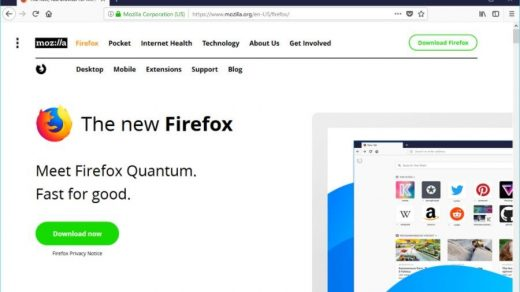 Firefox Quantum for Windows with homepage