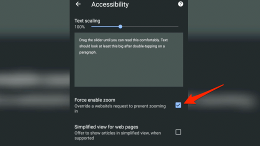 Force enable zoom accessibility chrome android