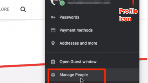 Google Chrome Profile Icon ad Manage People Option