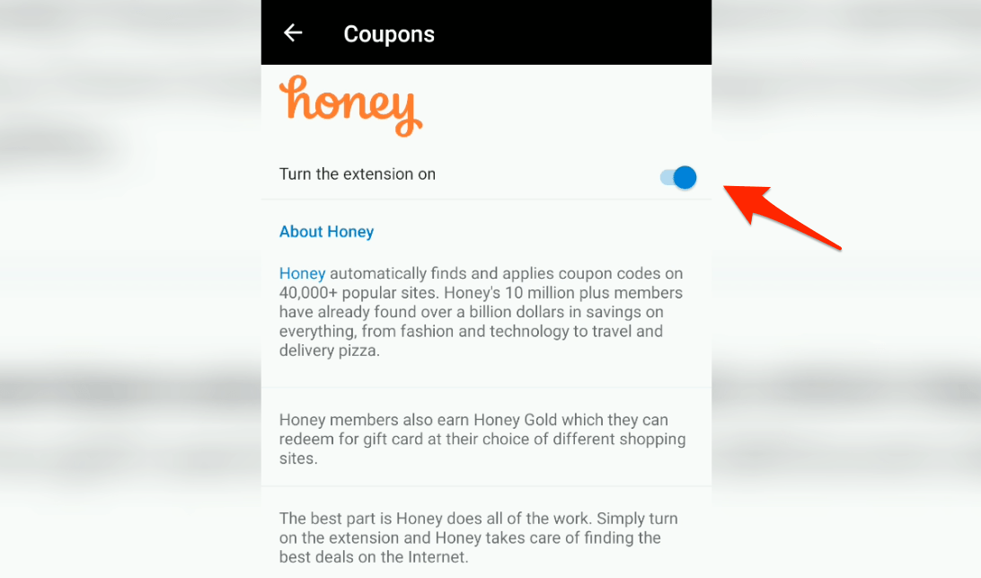 Honey Coupons Deals in Microsoft Edge for Android