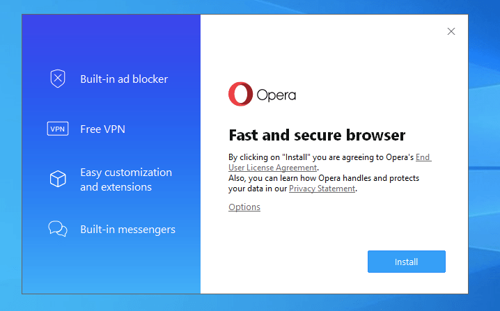 Install Opera Browser on Windows