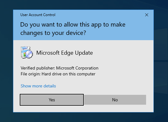 Microsoft Edge Update Control Authorize