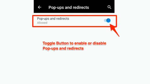 Pop-ups and redirects option in Edge Android