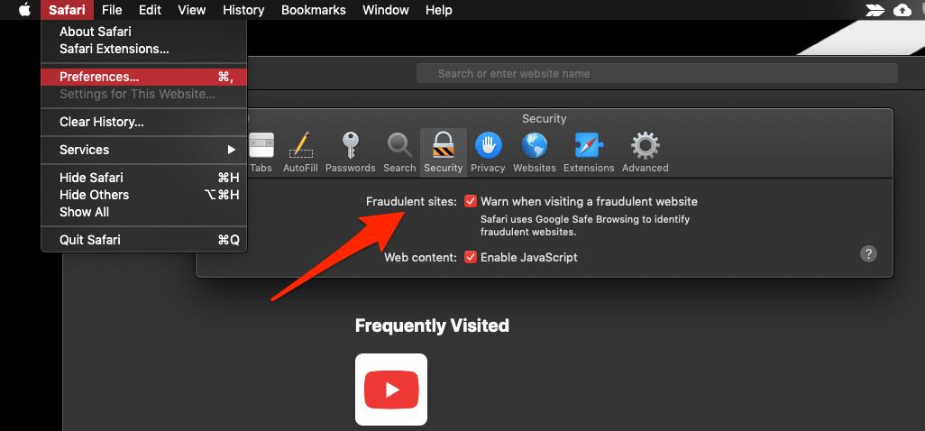 Security Settings for Fraudulent sites in Safari Mac
