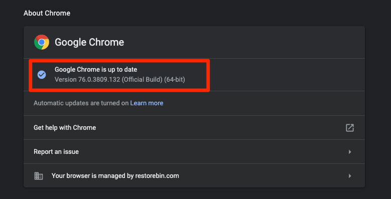 Settings – About Chrome - Up to date