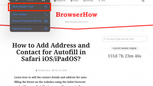 Show Readers View in Safari iPhone or iPad