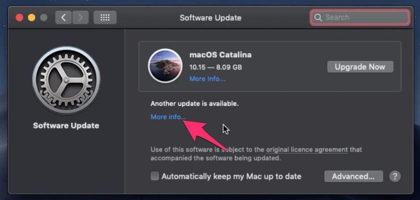 Software Update More Info Link