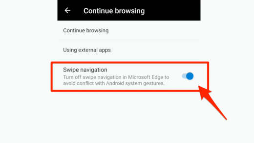 Swipe navigation continue browsing in Edge Android