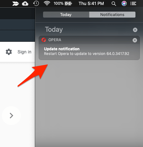 Update notification Opera Browser