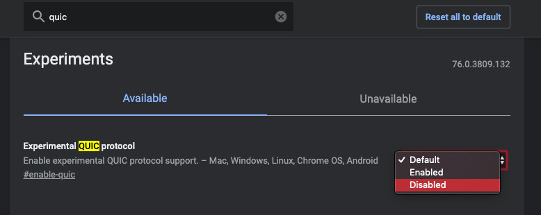 chrome://flags disable QUIC protocol