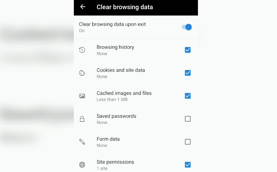 clear browsing history cookies and site data and cached images and files in edge android