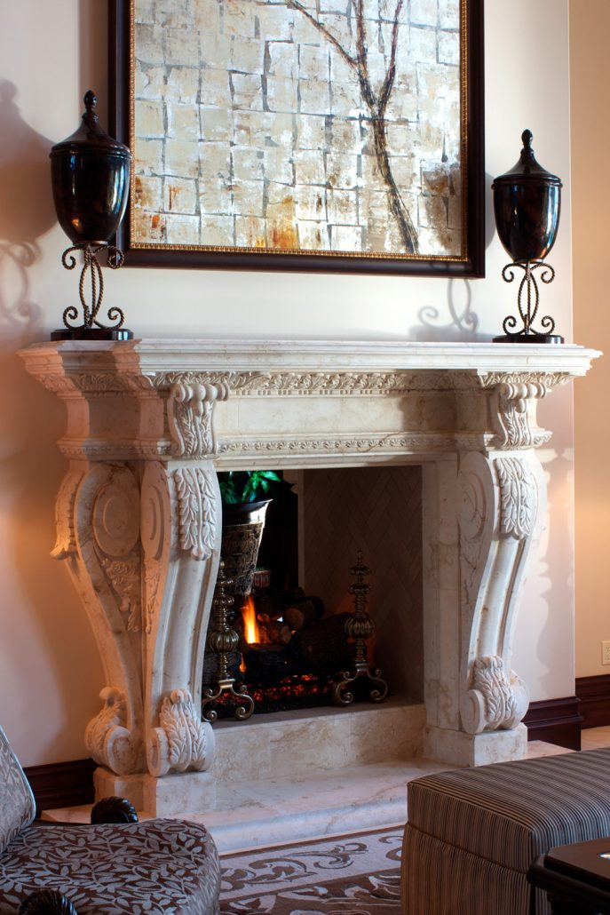 Custom French Provincial Stone Fireplace Mantels Bt