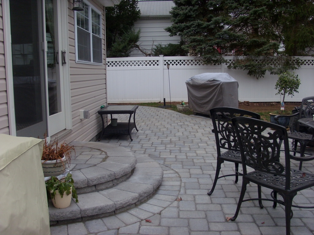 Building A Paver Patio Step – Elisa S Ramblings | Patio With Stairs From House | Residential | Curved Paver | Main Entrance Stamped Concrete Front | Walkout Basement | Decorative