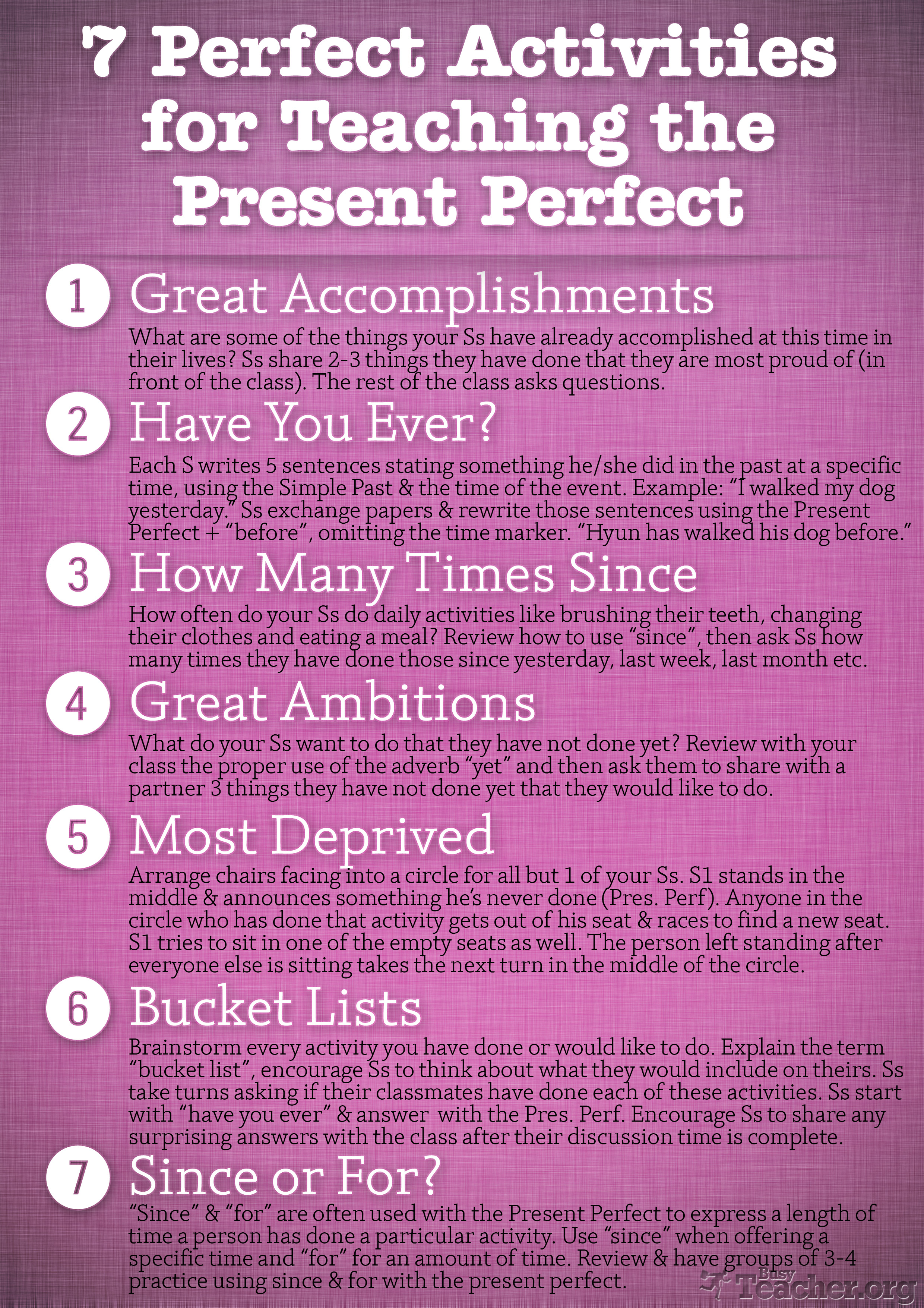 7 Perfect Ctivities To Te Ch Present Perfect Poster