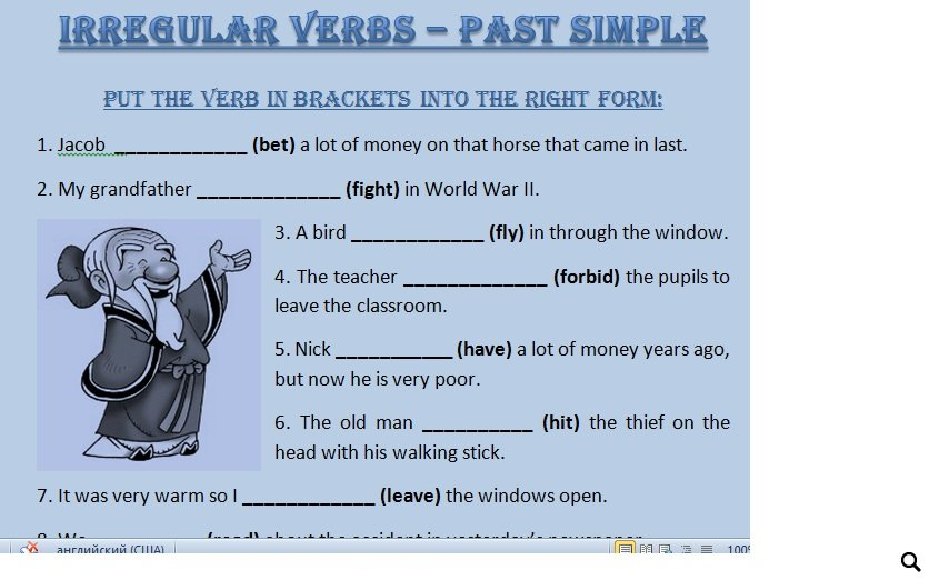 Regular Verbs Irregular Verbs