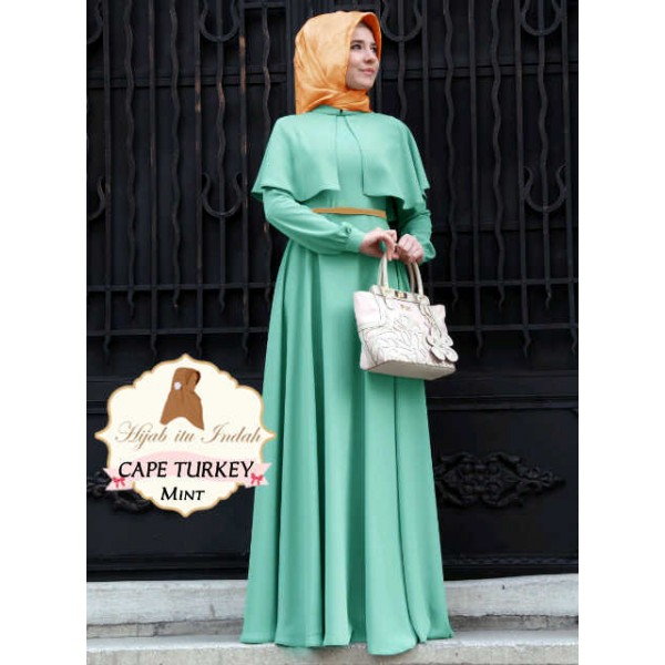 Cape Turkey Mint Gamis Dress Model Terbaru