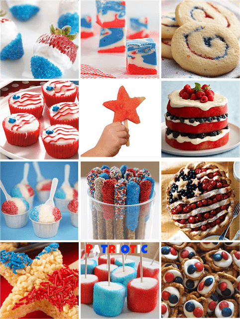 My kitchen still resembles a war zone, so instead of whipping up a few cute, 4th of July treats myself, I've gathered several of my favorites here for you today. Some are cute and easy, others are more time consuming but look oh so delicious! Enjoy!