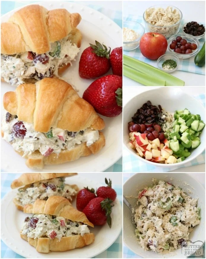 Easy 5-Minute Chicken Salad recipe that's the BEST I've ever tasted! The simple dressing really makes it perfect. Chicken Salad recipe made with diced chicken, plain yogurt, apples, grapes, celery, cucumber, raisins and more! Great as chicken salad sandwiches or in lettuce as a wrap or on crackers.
