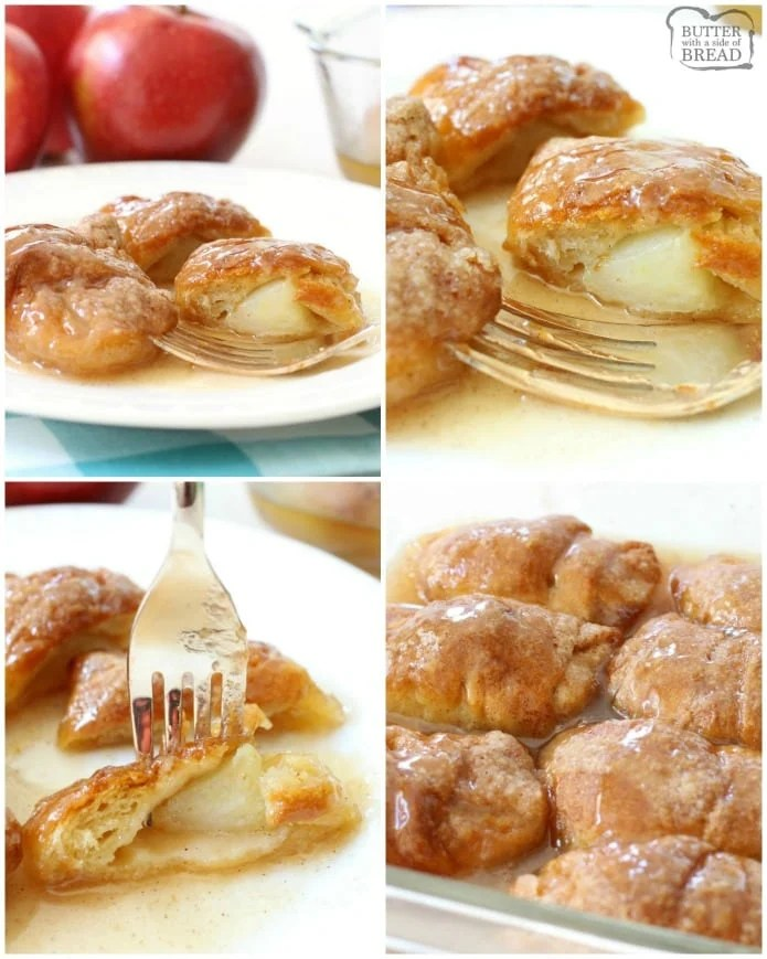 Easy Apple Dumplings recipe made with just a few ingredients- one apple, brown sugar, crescent dough & lemon lime soda! Simple recipe for apple dumplings in a sweet caramel-like glaze that tastes delicious.