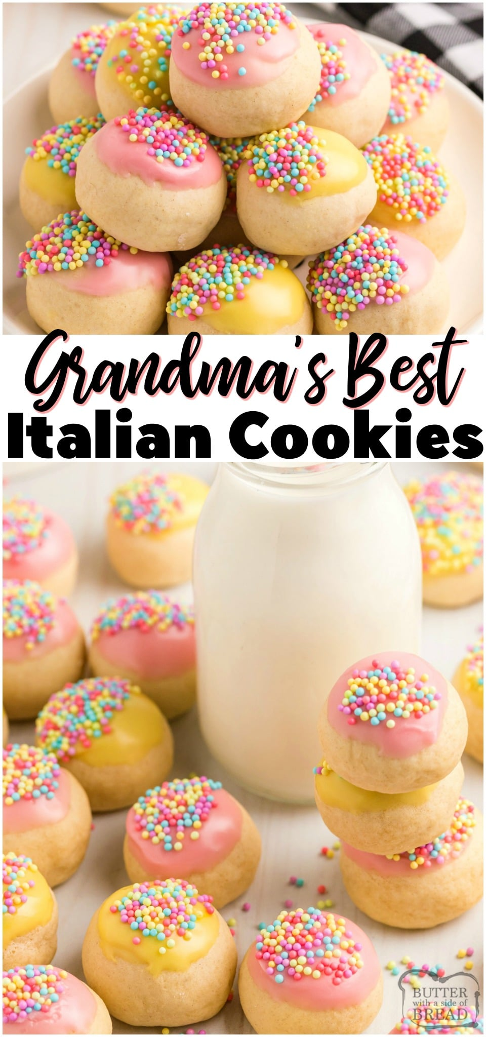 Grandma's Italian cookies with frosting are perfectly sweet and tender cookies with a simple vanilla glaze. Lovely Italian Cookies topped with a sweet glaze and colorful #sprinkles for any occasion! #cookies #Italian #baking #dessert #frosting #sweet #dessert #recipe from BUTTER WITH A SIDE OF BREAD