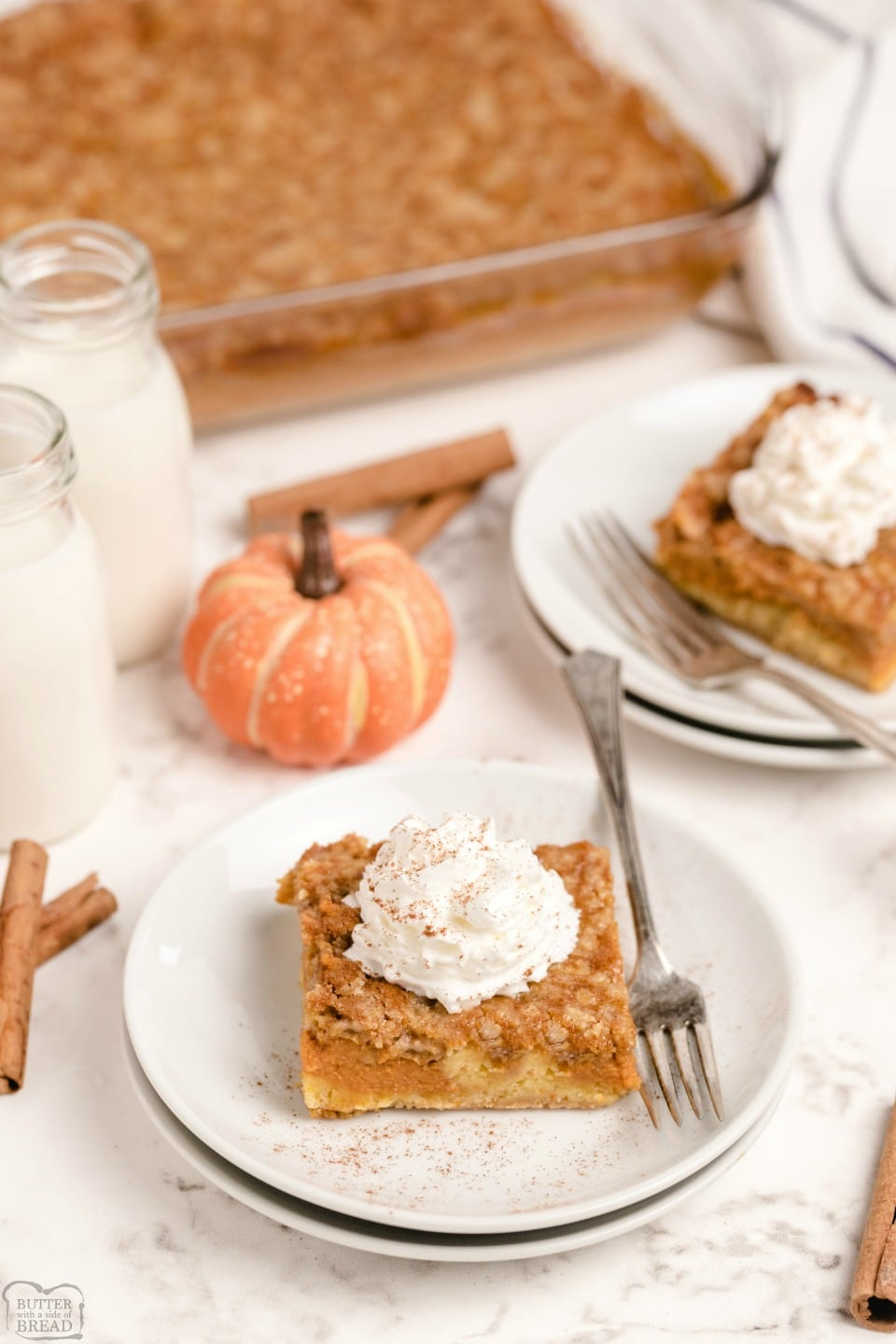 Pumpkin Pie Cake is festive Fall dessert made with a cake mix & pumpkin. Easy layered pumpkin cake that comes together fast and is a family favorite!