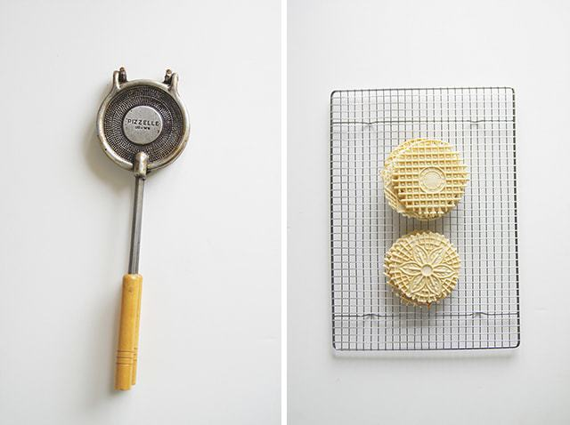 pizzelle cookies, butter with a side of bread