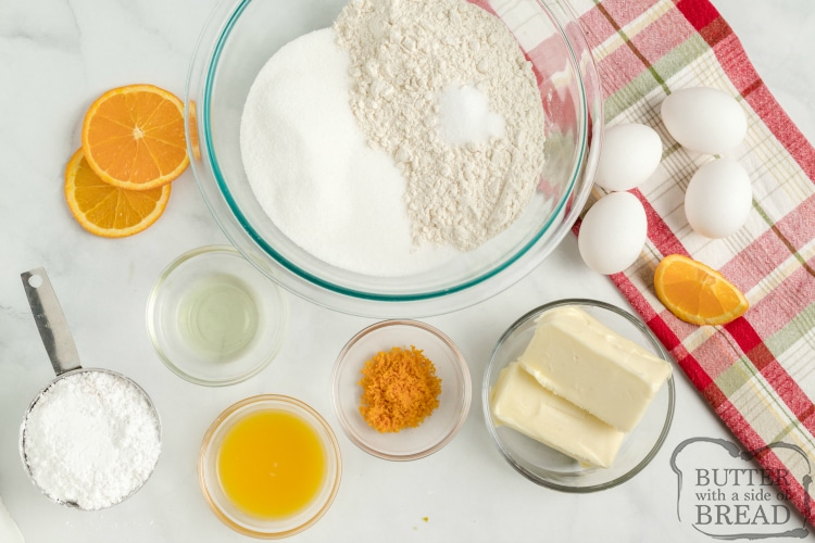 Ingredients in glazed orange bars