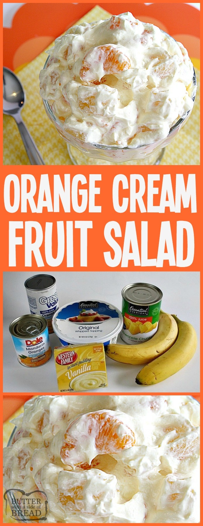 Orange Cream Fruit Salad is a lovely fruit salad filled with oranges, pineapple and bananas with a sweet cream mixed in! Perfect to go alongside Easter dinner! Easy Orange Fruit Salad recipe from Butter With A Side of Bread