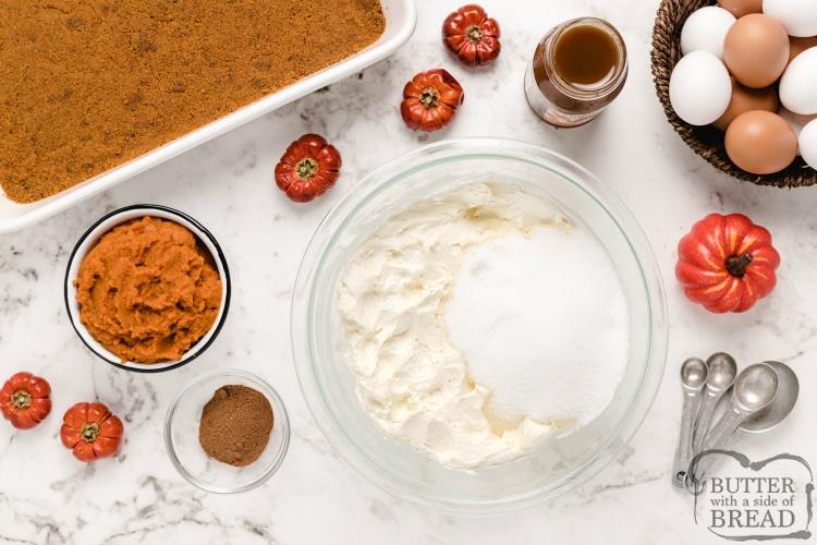 Ingredients in Pumpkin Cheesecake Bars
