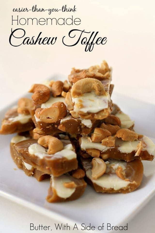 Cashew Toffee is an easy favorite holiday dessert, simply adding roasted cashews to a delicious traditional toffee recipe!