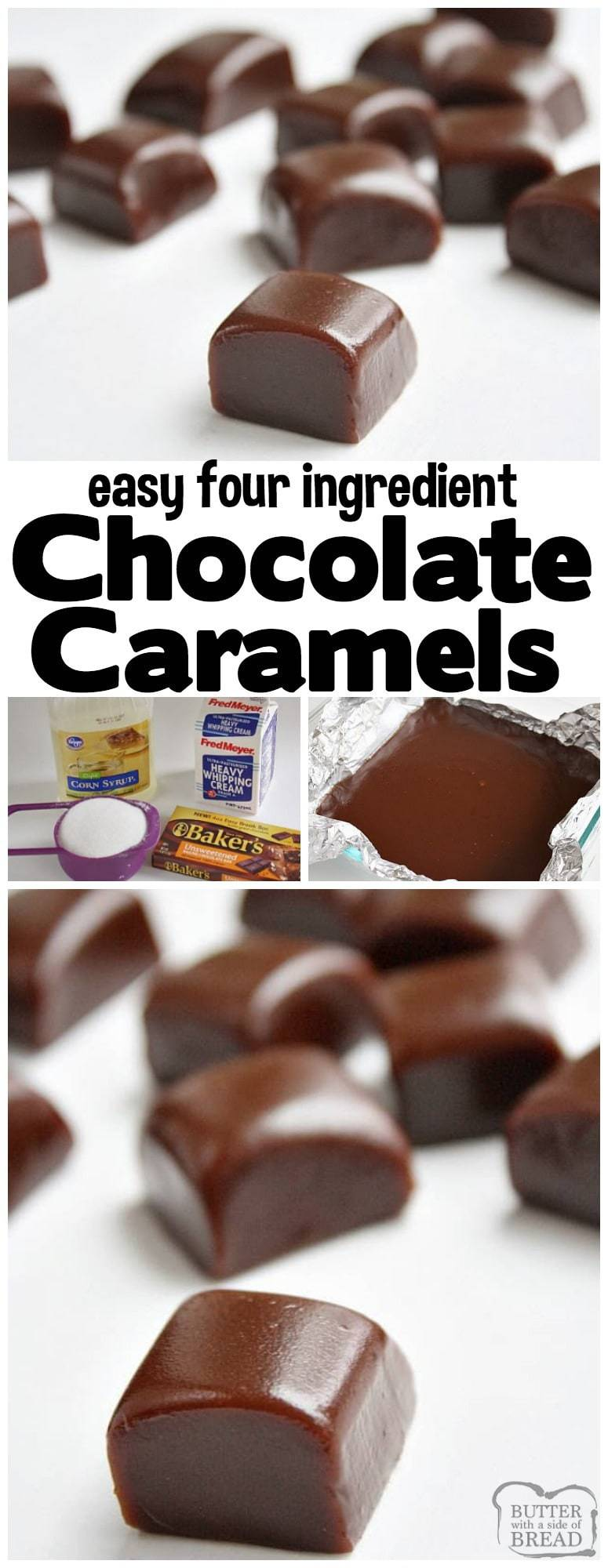 Chocolate Caramels are soft, chewy 4-ingredient homemade caramels with the amazing addition of chocolate! Perfect holiday treats that are delicious & easy to make. Incredible #homemade #caramel #recipe with #chocolate from Butter With A Side of Bread #Christmas #candy #holidays