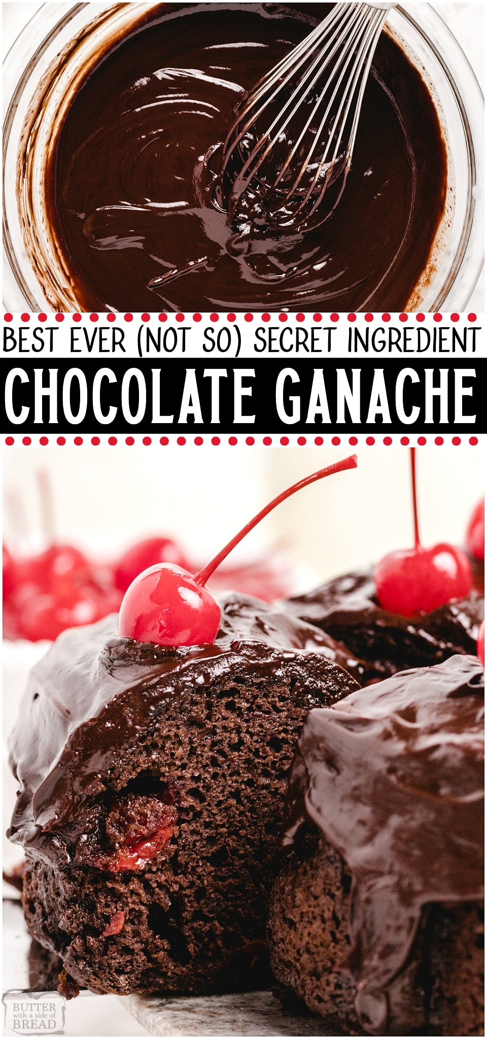 "Best Chocolate Ganache Ever made with just 3 ingredients & yields the silkiest, smooth & rich ganache. You MUST TRY my recipe- the ""secret"" ingredient makes my chocolate ganache incredible! #chocolate #ganache #dessert #homemade #butter #easyrecipe from BUTTER WITH A SIDE OF BREAD"