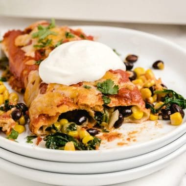 Spinach Black Bean Vegetarian Enchiladas recipe