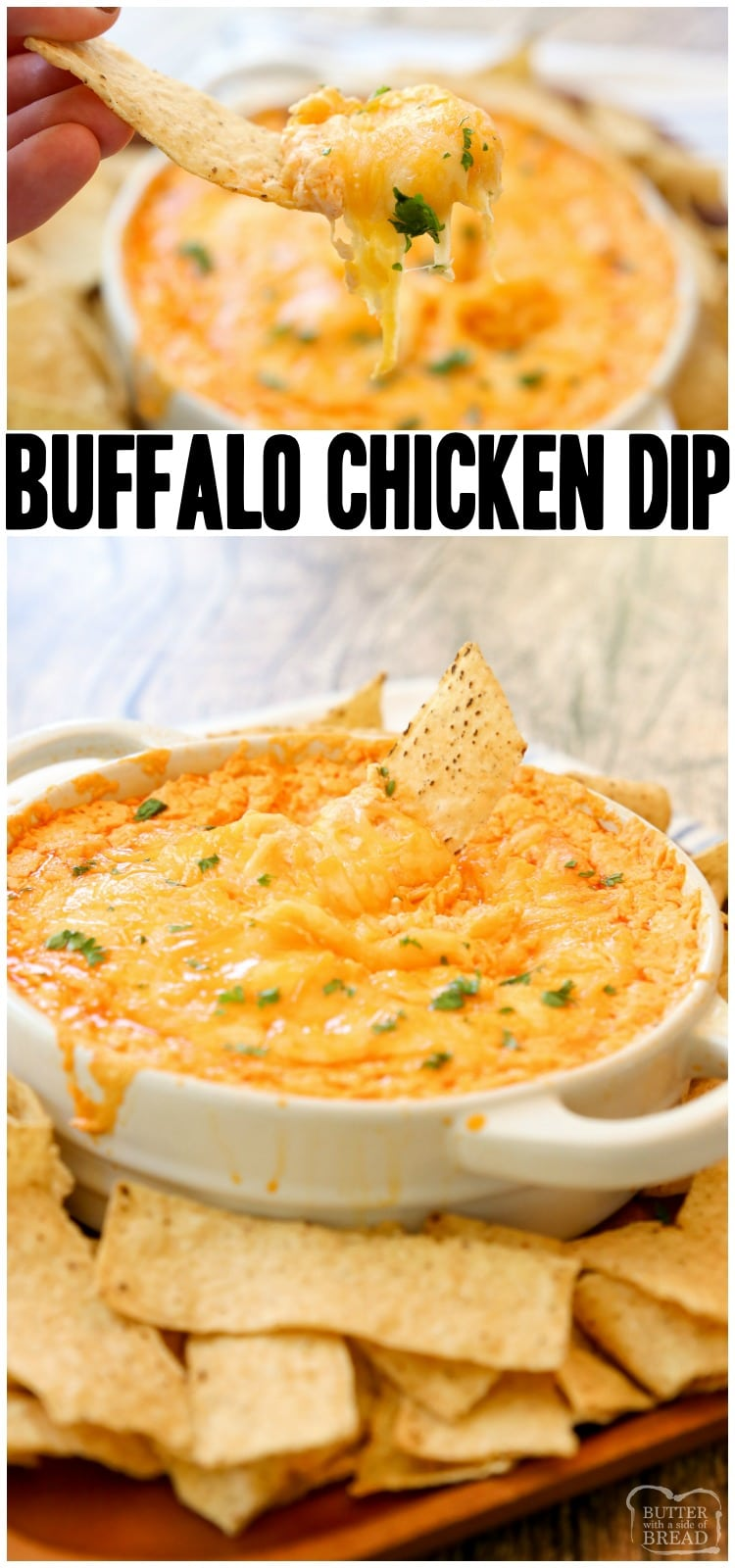 Buffalo Chicken Dip Recipe made with 3 cheeses, juicy chicken and a flavorful Buffalo sauce makes an awesome chicken wing dip with a bit of a kick. Easy Buffalo Chicken Dip is an easy appetizer perfect for game day.