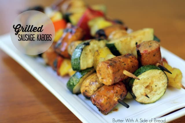 Easy Grilled Sausage Kabobs with a simple balsamic glaze. Perfect with a variety of vegetables all grilled to perfection.